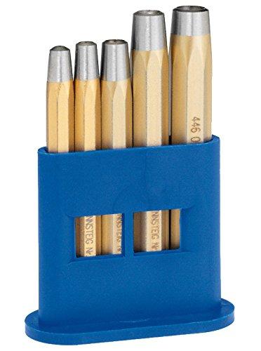 Rennsteig Nietkopfsetzer Satz, 2 – 6 mm, 5-teillig - für Nieten DIN 660, Spezial Stahl, im Kunststoffhalter - 4461000