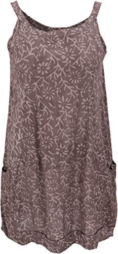 Guru-Shop Boho Minikleid, Sommertunika, Hängerchen, Damen, Cappuccino, Baumwolle, Size:S (36), Kurze Kleider Alternative Bekleidung