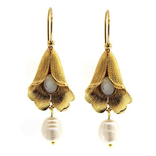 Pendientes Colgantes Clasicos - Latón con Oro de 24 Quilatest - Hechos a mano en Toscana, Made in Italy - Cala con cabujón de nácar y Perla Natural Pendiente