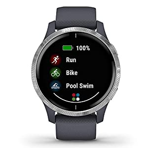 Garmin Venu GPS Smartwatch (Granite Blue/Silver) Power Bundle   2019 Model   +HD Screen Protectors (x4) & PlayBetter Portable Charger   AMOLED Display, Spotify
