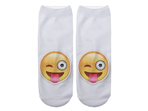 Unbekannt Socken bunt mit lustigen Motiven Print Socken Motivsocken Damen Herren ALSINO, Variante wählen:SO-L050 Emoticon Zunge raus
