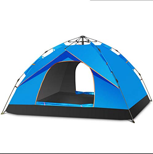 Automatic Tent, Outdoor Camping Tent 3-4 People Single Layer Waterproof Wearable Folding Tent,Skyblue