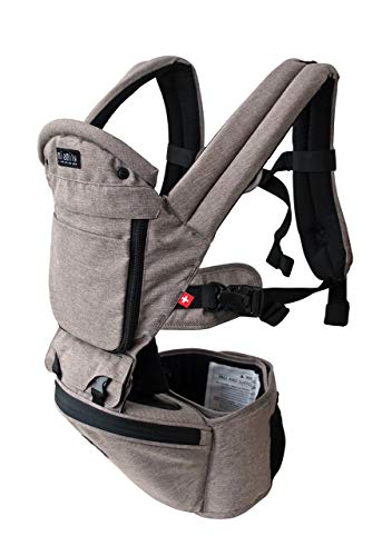 MiaMily Hipster Plus 3D Forward-Facing Baby Carrier and Baby Sling with 9-Supportive Carry Positions, Infant Carrier with Built-in Storage, Stone Grey