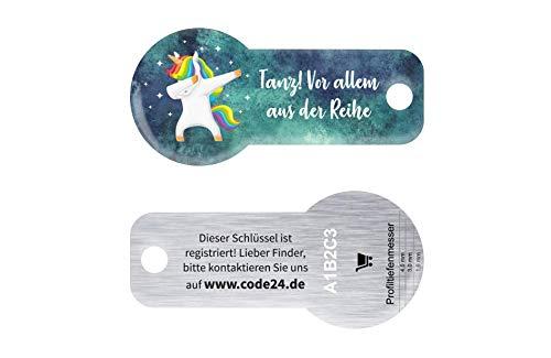 Tanzendes Einhorn, Code24 Einkaufswagenlöser Schlüsselanhänger mit Einkaufschip &...