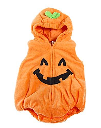 stylesilove Halloween Kid Fleece Pumpkin Costume Comfy Jumpsuit (100/18-24 Months) Orange