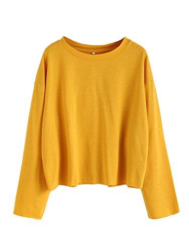 SweatyRocks Women's Casual Long sleeve Tops Raw Cut Pullover Sweatshirt Yellow S