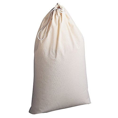 Household Essentials 120 100-Percent Cotton Drawstring Laundry Bag with Cordlock, Natural