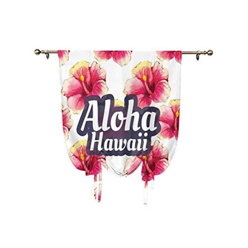 Cortina de ventana pequeña con decoración hawaiana, Aloha Hawaii, flores tropicales, adorno floral con flores silvestres, diseño clásico, cortina opaca térmica, 61 x 117 cm, para ventanas del hogar