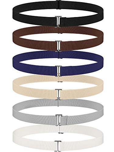 6 Pieces Invisible Belts No Show Women's Stretch Belt Adjustable Elastic Belts with Flat Buckle for Jeans Pants Dresses (Flat Buckle, Metal)