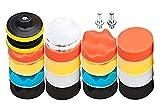 Almohadillas de pulido para taladro, 22 unidades AOBETAK para coche y pulidoras Kit de accesorios de esponja compuesta con adaptador M10