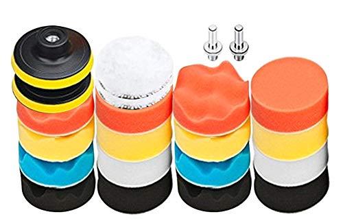 Aobetak - Set di 22 tamponi e lucidatrici per auto, composto da spugna per trapano, con adattatore M10, cuscinetti lucidanti per mobili auto, lucidatura, ceretta e smalto sigillante