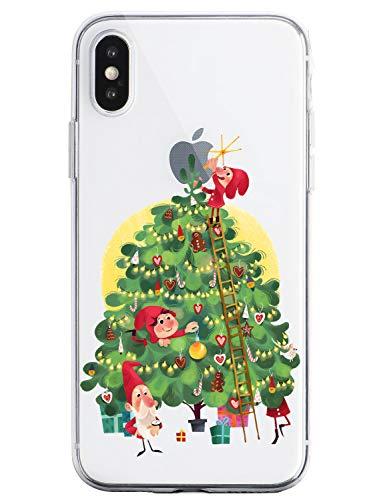 Oihxse Case Compatible Para Huawei Mate 20 Pro, Etui en Silicone Souple Ultra Mince Transparente Crystal Coque Motif de Mignon Noël Christmas Snowflake Protection Housse
