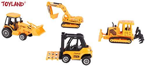 Toyland® 4-delige gegoten speelset voor bouwvoertuigen - bewegende onderdelen en accessoires