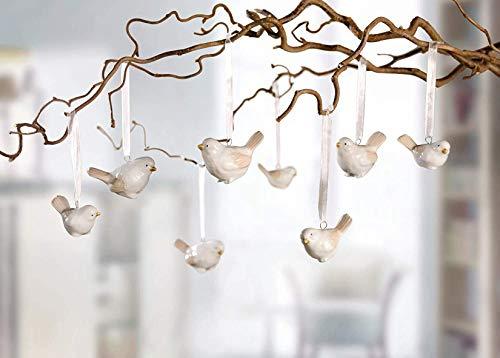 8 kleine Vögel aus Porzellan, Creme, Deko-Hänger, Frühlings-Deko, Fenster-Dekoration