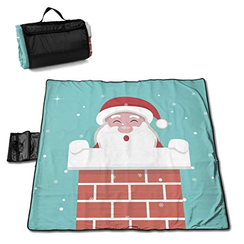 Suo Long Carte de Noël Santa Claus Cheminée Couverture de Plage Tapis de Pique-Nique Sac fourre-Tout Compact avec Sangle