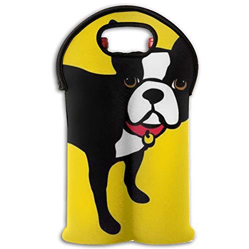 Boston Terrier And French Bulldog Wine Carrier Tote Bag- Durable Neoprene Wine/water Bottle Tote (2-bottle)