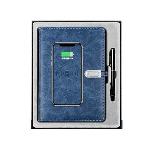 WSXEDC Notia inalámbrica de potencia portátil cuaderno creativo, libro de diario de aglomerante multifuncional, con 10000mAh Power Bank + Drive USB de 16GB USB Portátil de carga (Color : Blue)