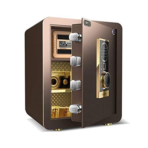 Cajas Fuertes Oficina Efectivo Electrónico Incorporado Doble Alarma Inteligente Electrónica Hogar de Acero Completo, Contraseña + Huella Digital (Color: Dorado, Tamaño: 38 * 31 * 45cm)
