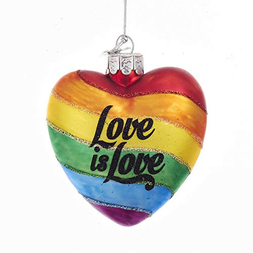 Kurt Adler NOBLE GEMS GLASS 'LOVE IS LOVE' RAINBOW HEART ORNAMENT