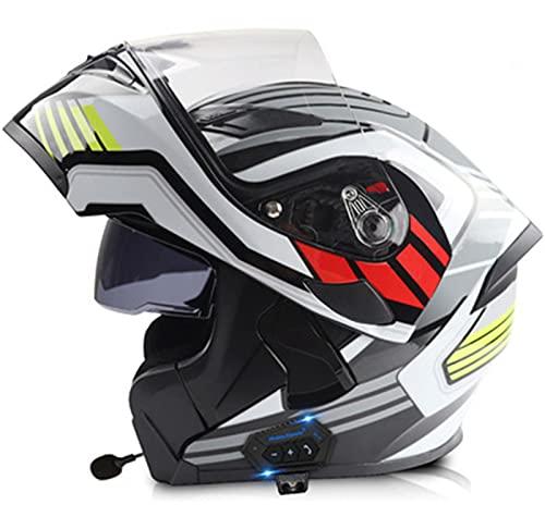 Casco De Motocicleta Modular De Cara Completa Con Bluetooth Incorporado Visores Dobles Aprobado Por DOT/ECE Cascos De Protección De Carreras De Motocicletas De Cara Completa Para Adultos A,XL