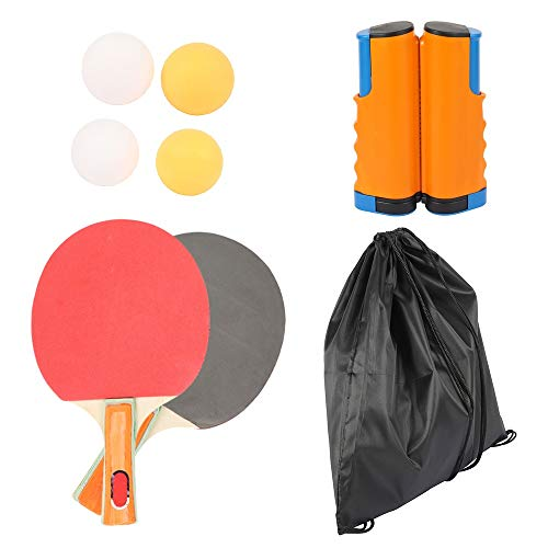 Best Price Walled King Full Set Ping Pong Net Rack with 1Pair Table Tennis Paddle 4PCS Balls Kit Table Tennis Net Racket Set 72 Inches Max Telescopic (Color : Orange Blue)