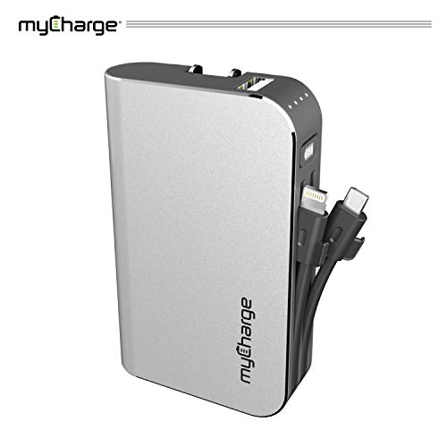 myCharge Portable Charger Power Bank - HubPlus 6700 mAh External Battery Pack | Wall Charger Foldable Plug | Built in Cables (Apple iPhone Charger Lightning Cable and Android Samsung Micro USB Cable