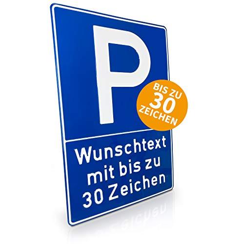 Betriebsausstattung24® Individuell gefertigtes Parkplatzschild mit Wunschtext | Geprägt | Text nach Wahl | Bis zu 30 Zeichen | Aluminiumschild | Blau/weiß | B 40,0 x H 60,0 cm