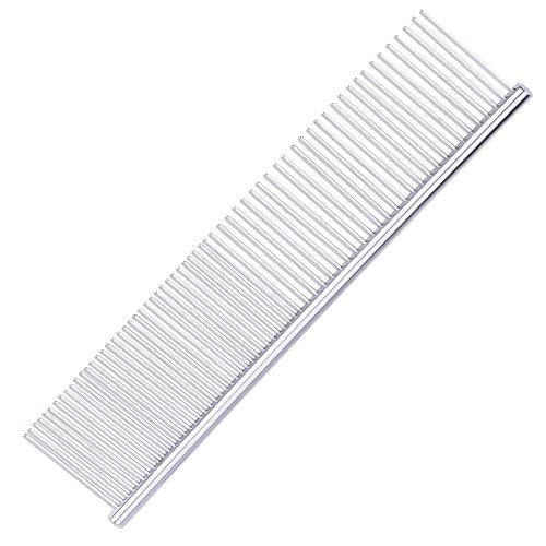 2-in-1 Pet Stainless Steel Grooming Comb,Dog Cat Comb Tool,7 1/2' 1 2/3' Pet Combs Set,Rounded Teeth Pet Comb for Large,Medium and Small Dogs,Cats with Tangled Short/Long Hair