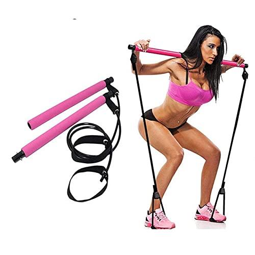 Ejercicio físico Barra de Pilates Kit Gimnasio Barra de Ejercicios Pilates Barra de Fitness Kit con Banda de Resistencia Tirador de Fitness Cuerda de Yoga