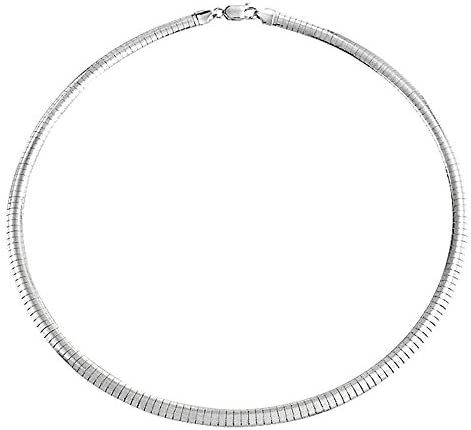 Verona Jewelers Sterling Silver Italian Flat Omega Chain Necklace 2MM 3MM Cubetto Chain 16 18 product image