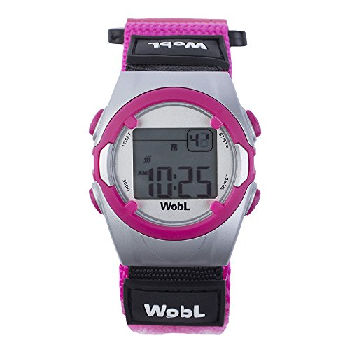 WobL Vibrating 8-Alarm & Repeating Countdown Timer Watch for Kids & Adults, Medication/Sports/Meetings/Potty Reminders, Pink