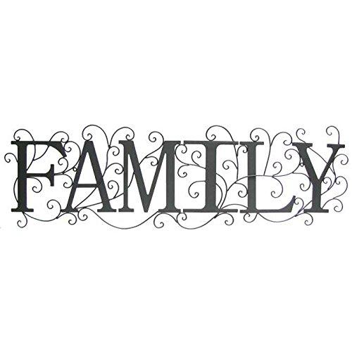 Black Family Metal Wall Decor with Swirl Design