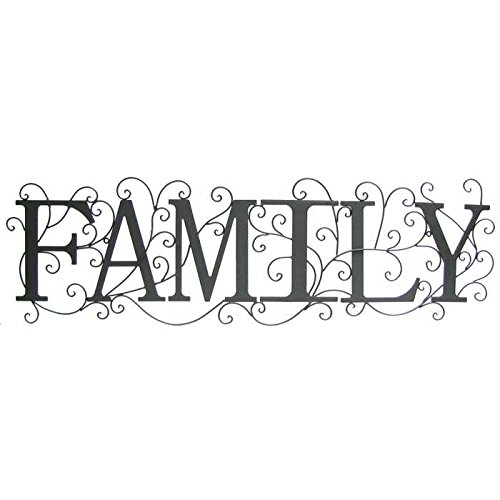 Black Family Metal Wall Decor with Swirl Design