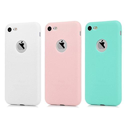 KASOS Coque pour iphone 8, Case Bumper Étui Coque de Protection en TPU Soft Silicone Ultra Hybrid Ultra Mince Léger Modèle Dessin Housse pour iphone 8 -Bleu/Rose/Blanc