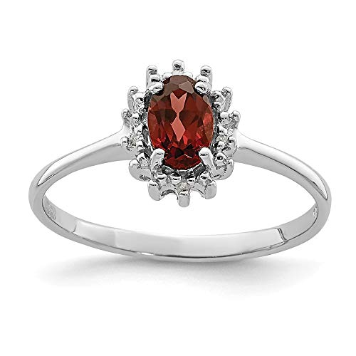 925 Sterling Silver Red Garnet Diamond Band Ring Size 8.00 Stone Gemstone Fine Jewellery For Women Gifts For Her
