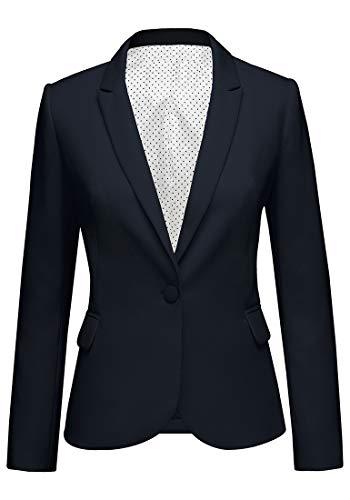 Roskiky Eingekerbter Blazer mit Revers Taschen und Knöpfe Navy Blau Small