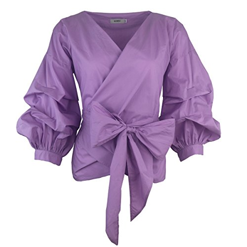 AOMEI Women Spring Summer Blouses with Puff Sleeve Sashes Shirts Peplum Tops Purple Color