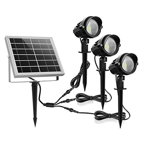 Solar Gartenleuchte MEIKEE 450LM Garten Solarstrahler IP66 Wasserdicht LED Solarlampe Außen Solarleuchte 3 Stück mit Erdspieß Wegeleuchte für Bäume, Sträucher, Gartenweg, Rasen, Hof 6000K Kaltweiß