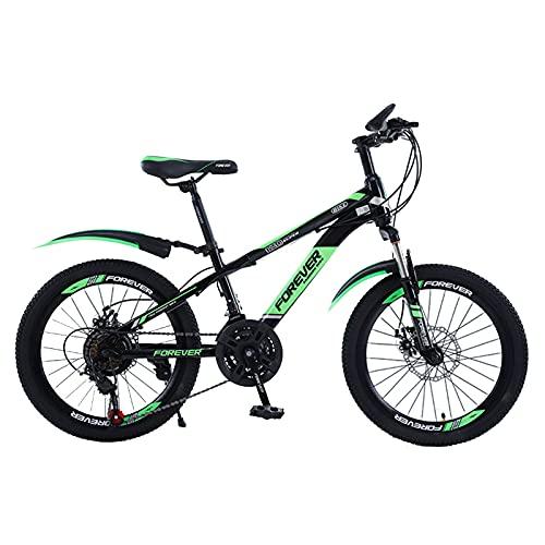 Axdwfd Infantiles Bicicletas Bicicleta al Aire Libre para niños, para 7-14 años, niños, niñas, niños, Bicicleta de montaña Ajustables, 3 Colores (Color : Green, Size : 18in)