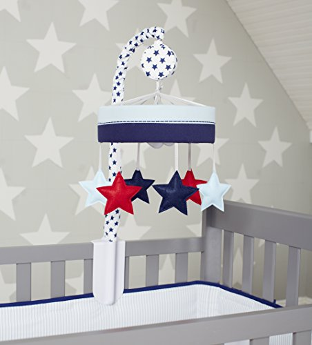 Just Born Vintage Sports Musical Mobile, Blue and Red Stars, Navy/red