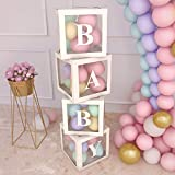 🎁 Why are baby shower balloon box kit so popular? You don't want your baby gender reveal party decor to be boring and dull? Baby box decorations for baby shower amaze your guests! 🎁 Package include: 4 pcs 12*12*12 inc clear baby shower blocks with le...