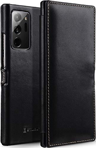 StilGut Book Hülle kompatibel mit Samsung Galaxy Note 20 Ultra Hülle aus Leder mit Clip-Verschluss, Lederhülle, Klapphülle, Handyhülle - Schwarz Nappa