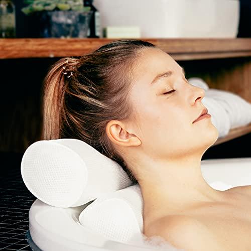 TranquilBeauty Luxury Bath Pillow Waterproof Air Mesh Bath Cushion With...