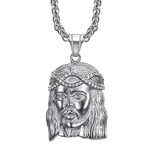Bobijoo Jewelry – Colgante para hombre con cabeza de Cristo Jesús falsos diamantes de acero inoxidable plateado y cadena.