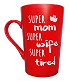 MAUAG Mother's Day Gifts Funny Coffee Mug for Mom Wife Christmas Gifts, Super Mom Super Wife Super Tired Cute Present from Daughter Son or Husband Fun Cup Red, 12 Oz