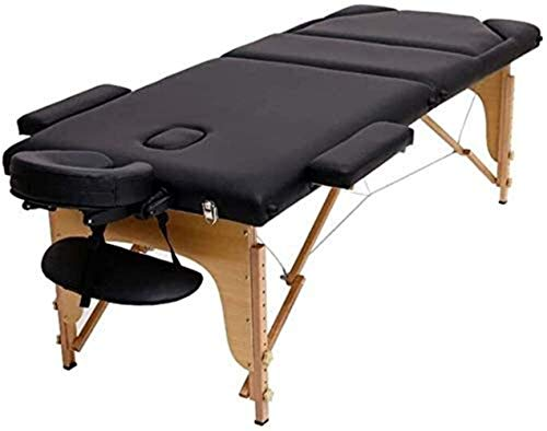 FQDS Folding Massage Bed Physiotherapy Acupuncture Care Portable The Best Massage Table Reiki Portable Massage Table Leather (Color : Black)