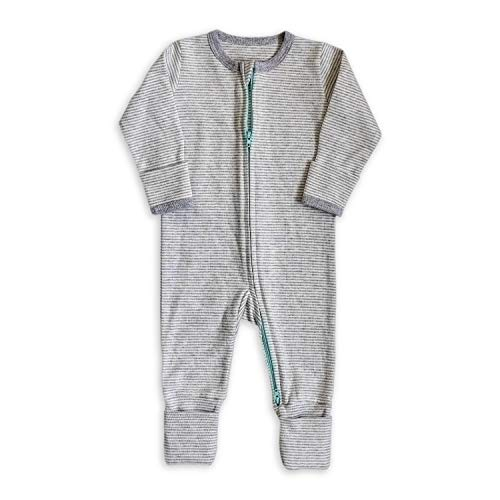 100% Cotton, Two-Way Zipper Baby Sleepsuit, Unisex Gender Neutral Onesie Romper for Boys and Girls, Double Zip, Footless with Fold Over Cuffs on Hands and Feet (12-18 Months)