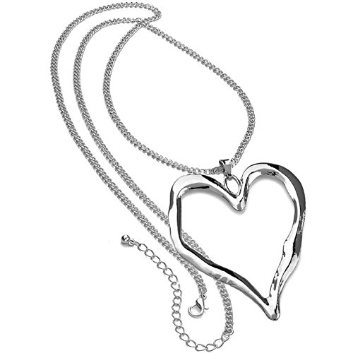 Lagenlook silver plated extra large heart pendant fashion jewellery long necklace
