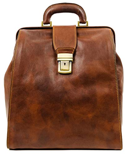Leather Backpack Travel Bag Carry On Business Canvas Rucksack Brown Book Bag - Time Resistance