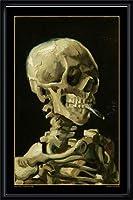 ポスター フィンセント ファン ゴッホ Skull with Burning Cigarette 額装品 ウッドハイグレードフレーム(ブラック)